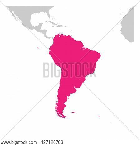South America Continent Pink Marked In Grey Silhouette Of World Map. Simple Flat Vector Illustration