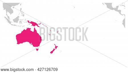 Australia Continent Pink Marked In Grey Silhouette Of World Map. Simple Flat Vector Illustration.
