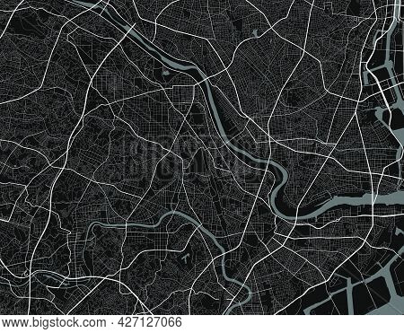Urban City Map Of Kawasaki. Vector Illustration, Kawasaki Map Grayscale Art Poster. Street Map Image