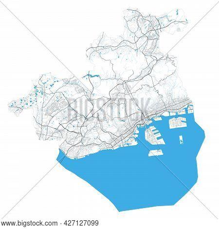 Kobe Map. Detailed Map Of Kobe City Administrative Area. Cityscape Panorama. Royalty Free Vector Ill