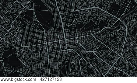 Map Of Sapporo City, Japan. Horizontal Background Map Poster Dark Black Land, Streets And Rivers. 19