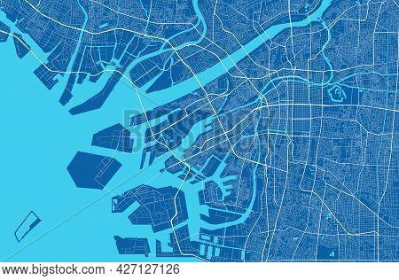 Detailed Map Of Osaka City Administrative Area. Royalty Free Vector Illustration, Land Panorama. Dec