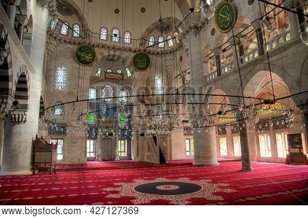 Istanbul, Turkey - April 2014: Interior Architecture Details Of Kilic Ali Pasa Mosque At Tophane Dis