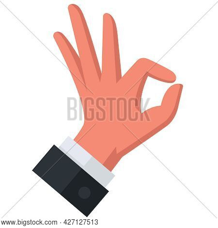 Gesture With Your Hand And Show Approx. All Right. Flat Vector Illustration.