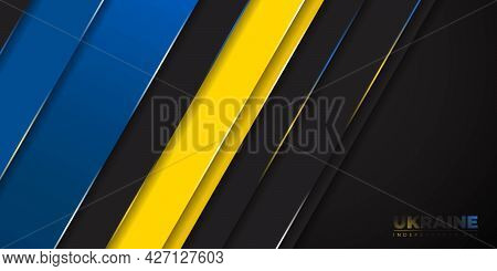 Black, Blue And Yellow Geometric Background For Ukraine Independence Day Design. Good Template For U