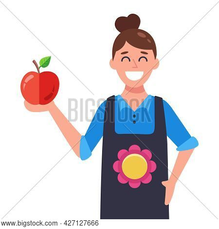 Woman In Apron And Apple In Hand. Flat Vector Illustration.