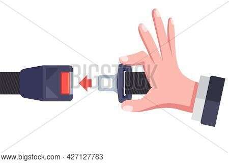 Fasten The Seat Belt In The Car. Flat Vector Illustration.