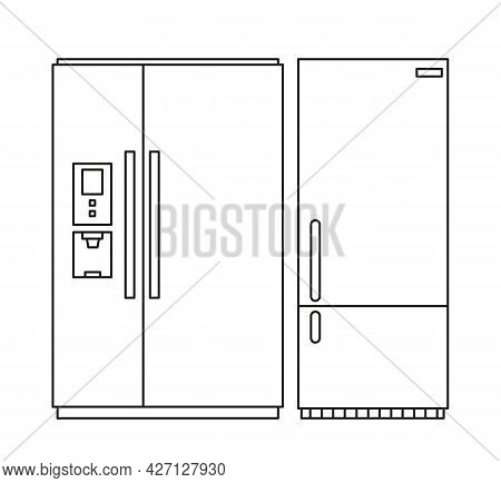 A Set Of Refrigerators, Two-chamber And One-door. Vector Illustration In Line Style. Isolated Clipar