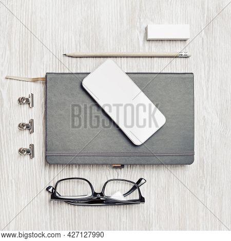 Blank Corporate Identity Template On Light Wooden Background. Photo Of Blank Stationery Set. Mockup