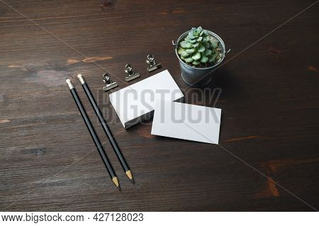 Photo Of Blank Business Cards, Pencils And Plant On Wooden Background. Id Mockup. Responsive Design