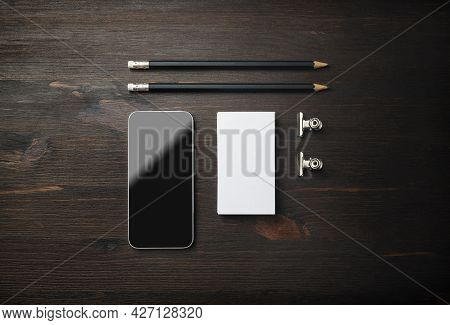 Smartphone, Business Card And Pencils. Blank Stationery Set On Wooden Background. Id Template. Mocku