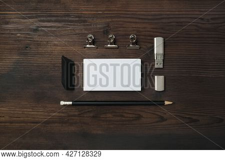Blank Stationery Set. Blank Business Card, Flash Drive, Pencil And Eraser On Wooden Background. Id M