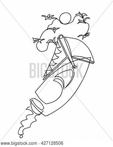 One Line Drawing Of Aerial View Of Sailing Boat  One Continuous Line Drawing Of Bird Eye View And Tr