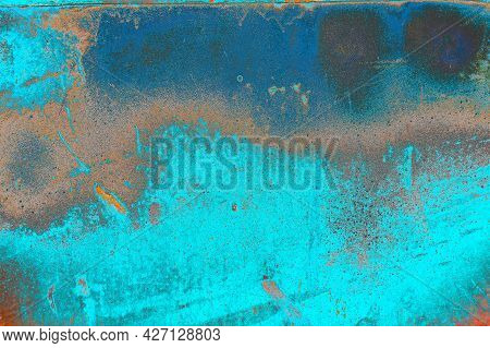 An Old Sheet Of Metal Background Bright Blue. Rust And Grunge Texture For Decor. Surface Old Painted