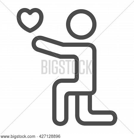Man On His Knees With Heart Line Icon, 8 March Concept, Man Giving Heart To His Lover Sign On White
