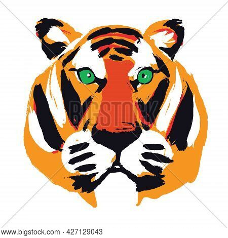Colored Head Of A Tiger. Abstract Drawing Of A Tiger On A White Background. Isolated. Tiger - A Symb