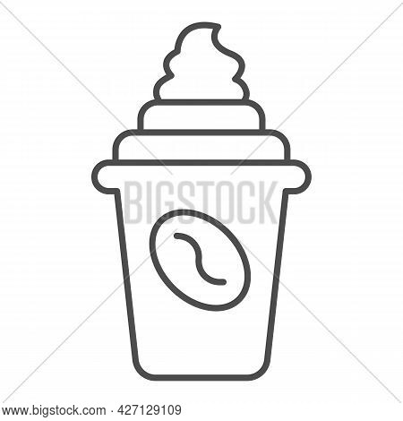 Coffee With Cream In Cup With Lid Thin Line Icon, Icecream Concept, Coffee Cup Vector Sign On White