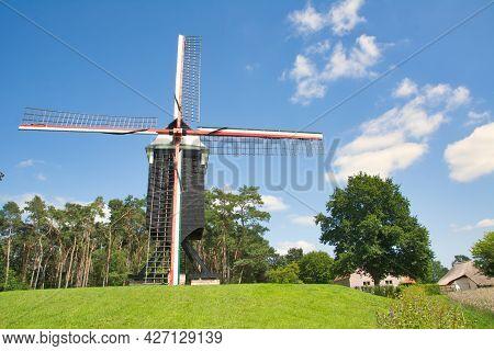 Westerlo, Belgium, July 2021: View On Beddermolen Historical Wind Mill In Tongerlo, Westerlo Belgium