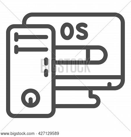 Computer And Operating System Line Icon, Pcrepair Concept, Operating System Vector Sign On White Bac