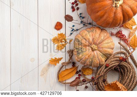 Autumn, Festive Background With Pumpkins, Berries And Foliage On A White Wooden Background. Top View