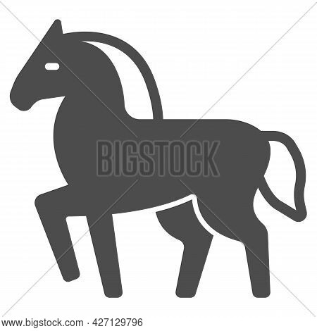 Horse Solid Icon, Worldwildlife Concept, Horse Vector Sign On White Background, Horse Glyph Style Fo
