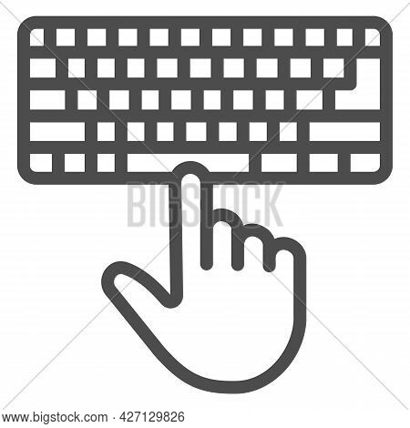 Keyboard And Hand Line Icon, Pcrepair Concept, Keyboard Vector Sign On White Background, Keyboard An