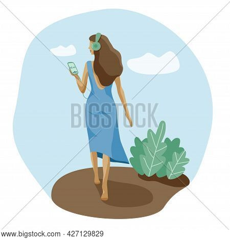 Mental Health Slim Free Woman Walking With Phone Listens Music Audiobook Meditation In Headphones. G