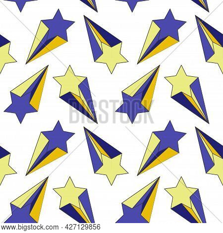 Shooting Stars Blue Yellow Seamless Patternfor Fun Kids Home Party Textile Design Vector Illustratio