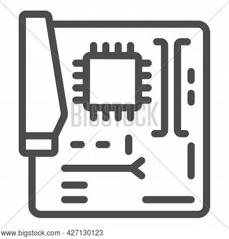 Motherboard Line Icon, Pcrepair Concept, Motherboard Vector Sign On White Background, Motherboard Ou