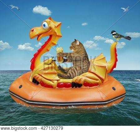 A Beige Cat With A Glass Of Juice Is Floating On An Inflatable Dragon In The Sea At A Resort.