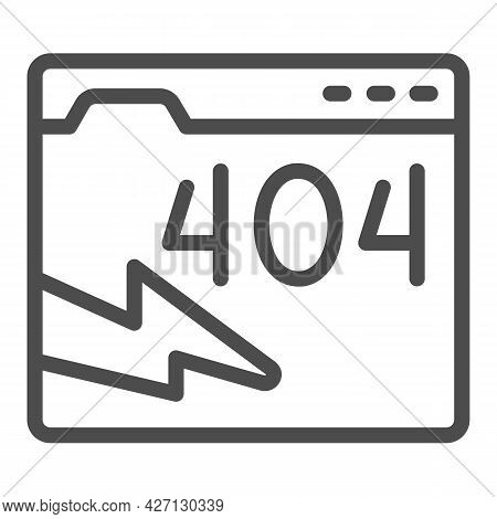 Web Page With Connection Error Line Icon, Pcrepair Concept, Error Connection Vector Sign On White Ba