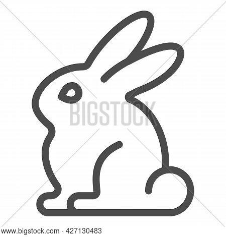 Rabbit Line Icon, Worldwildlife Concept, Rabbit Vector Sign On White Background, Rabbit Outline Styl