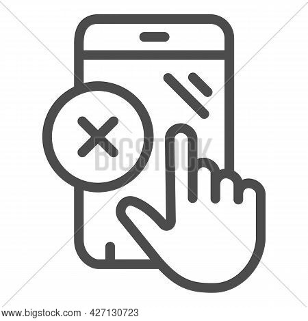 Smartphone Touchscreen Nonworking Line Icon, Pcrepair Concept, Touchscreen Vector Sign On White Back