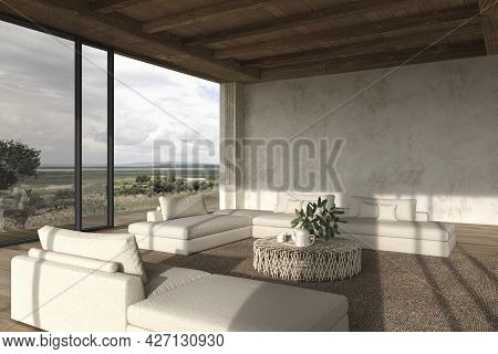 Modern Interior Design Open Space Living Room. Large Windows And Nature View. Stucco Wall Mock Up. H