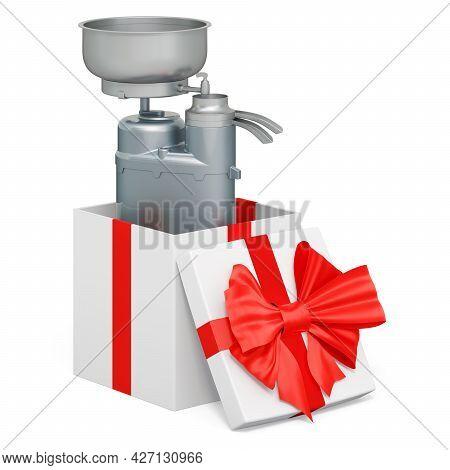 Milk Separator Inside Gift Box. 3d Rendering Isolated On White Background