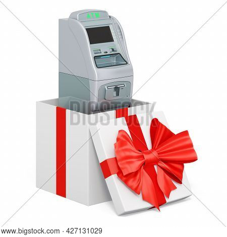 Atm Machine Inside Gift Box, Gift Concept. 3d Rendering Isolated On White Background