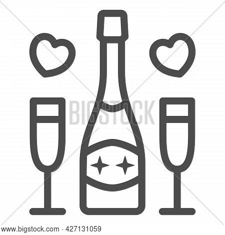 Champagne For Two Person Line Icon, 8 March Concept, Romantic Date Symbol On White Background, Champ
