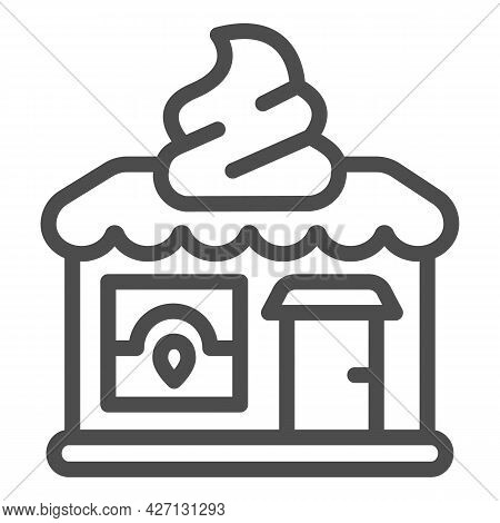 Ice Cream Shop Line Icon, Icecream Concept, Ice Cream Shop Vector Sign On White Background, Shop Out