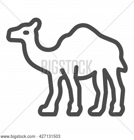 Camel Line Icon, Worldwildlife Concept, Camel Vector Sign On White Background, Camel Outline Style F