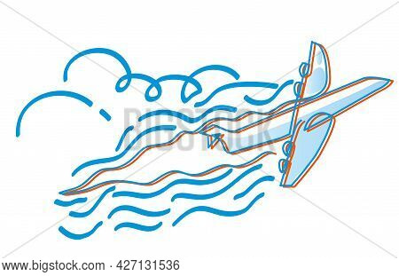 One Line Drawing Of Aeroplane. One Continuous Line Drawing Of Aeroplane With Blue Sky.
