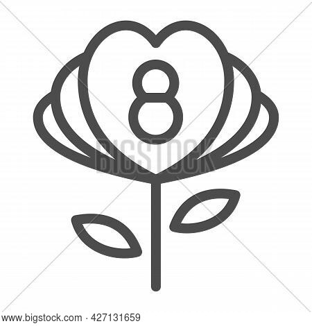 Flower With Eight Number And Petals In Form Of Hearts Line Icon, 8 March Concept, Woman Day Present