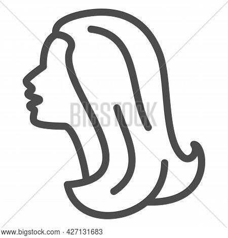 Female Head Silhouette Line Icon, 8 March Concept, Woman Profile Sign On White Background, Beautiful