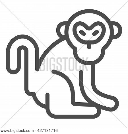 Monkey Line Icon, Worldwildlife Concept, Monkey Vector Sign On White Background, Monkey Outline Styl