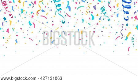 Colorful Confetti And Serpentine Ribbons Falling From Above. Streamers, Tinsel Vector Seamless Frame