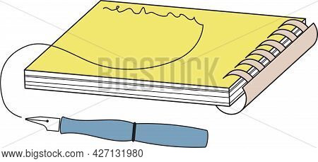Ink Pen And Notebook Vector Illustration.outlined Art. Sketchy Style. Hand Drawn Object Illustration