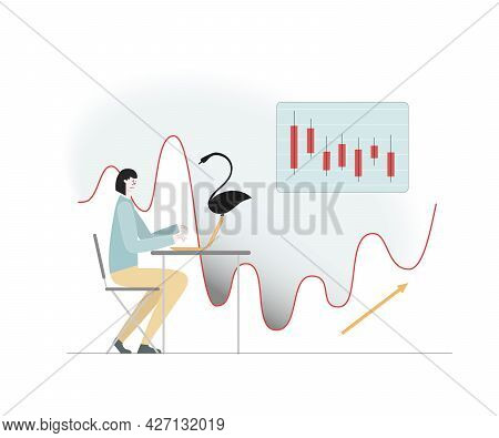 Black Swan Flew. Started Economic Decline. Market Stocks Fell. Girl With Lapton. Vector