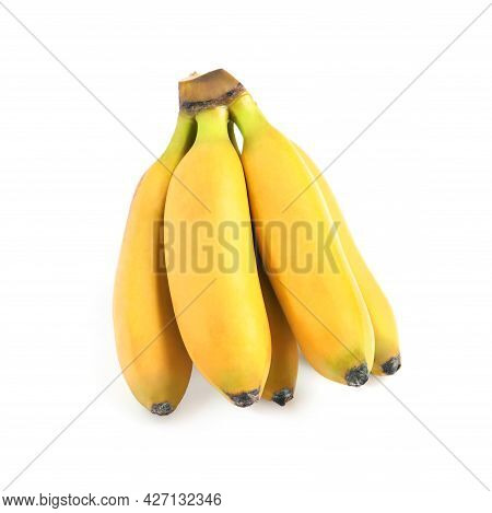 Cluster Of Ripe Baby Bananas On White Background