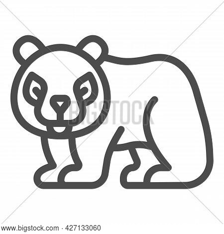Panda Line Icon, Worldwildlife Concept, Panda Bear Vector Sign On White Background, Panda Bear Outli