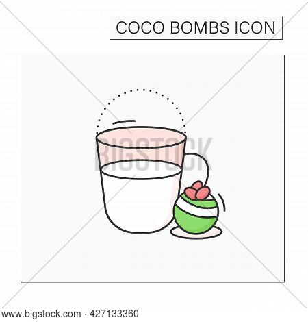 Coco Bomb Color Icon. Hot Milk. Delicious Dessert. Cute Ball Of Chocolate With Marshmallows Filling