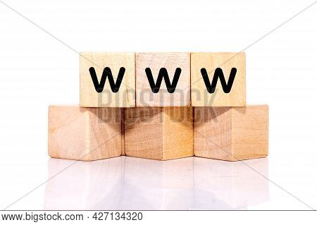 Cubes With Word Www, World Wide Web Concept, Internet On White Background